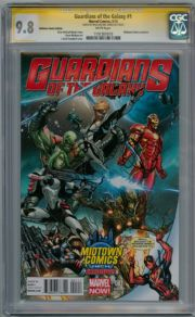 Guardians Of The Galaxy #1 Midtown Deadpool Variant CGC 9.8 Signature Series Signed Brian Michael Bendis Marvel comic book
